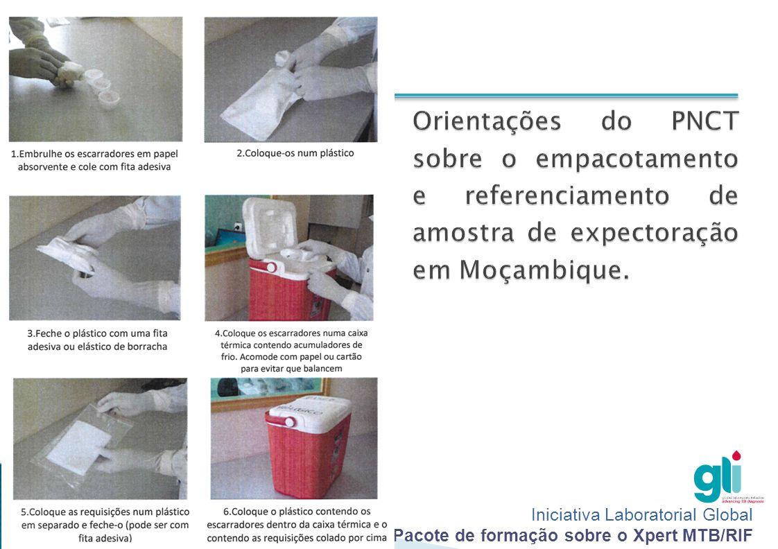 Orientações do PNCT sobre o empacotamento e referenciamento de amostra de expectoração em Moçambique.