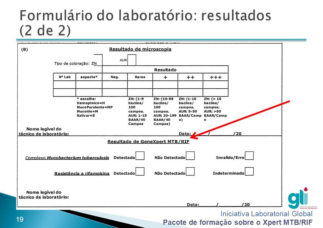 Formulário do laboratório: resultados (2 de 2)