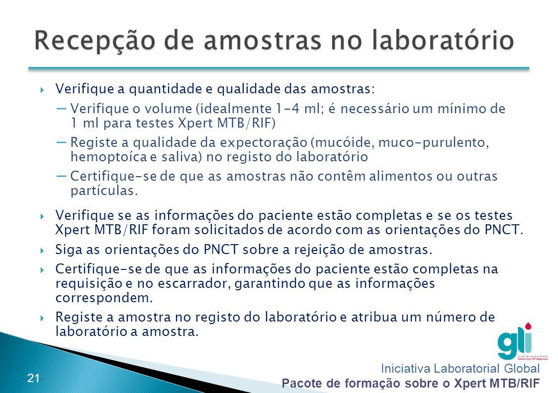 Recepção de amostras no laboratório