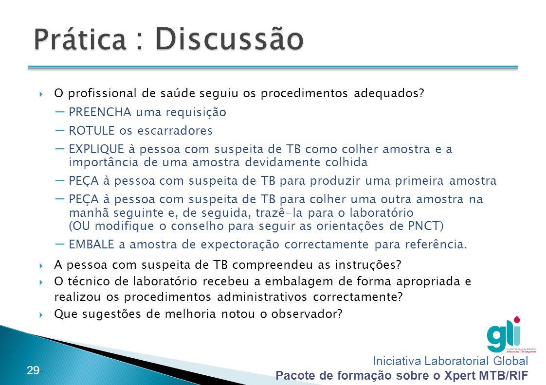Prática : Discussão O profissional de saúde seguiu os procedimentos adequados PREENCHA uma requisição.