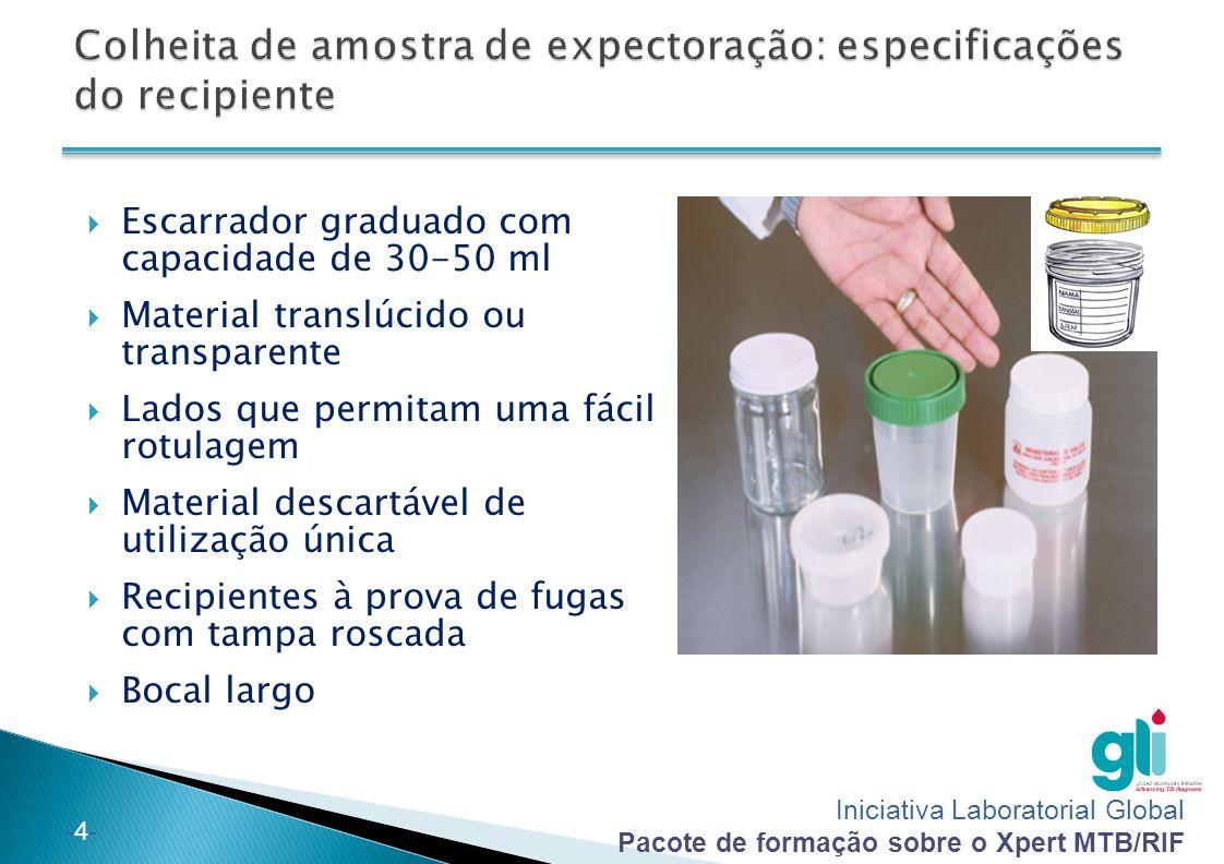 Colheita de amostra de expectoração: especificações do recipiente