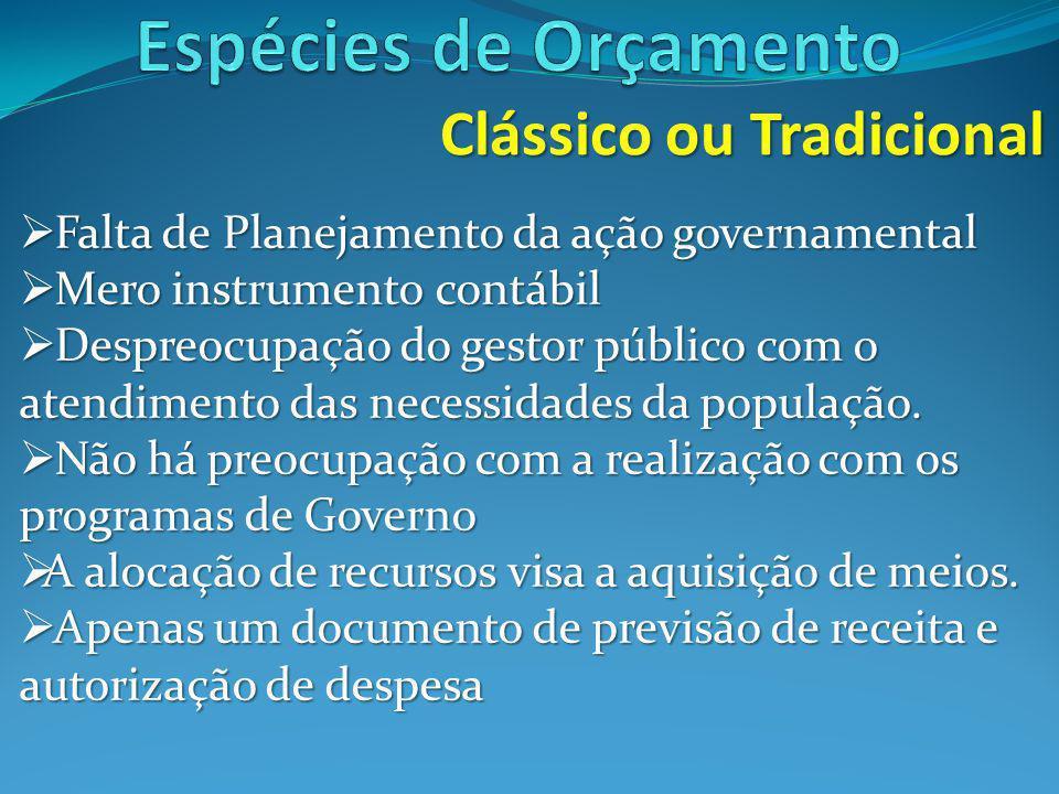 Espécies de Orçamento Clássico ou Tradicional