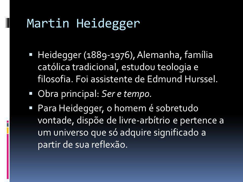 Martin Heidegger Heidegger (1889-1976), Alemanha, família católica tradicional, estudou teologia e filosofia. Foi assistente de Edmund Hurssel.