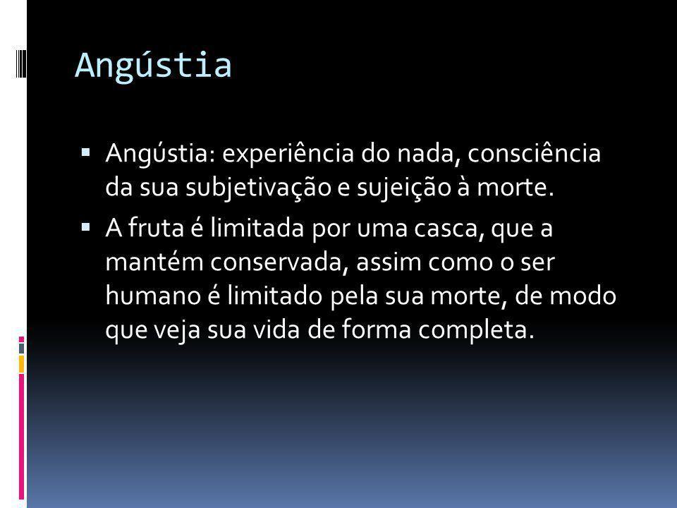 Angústia Angústia: experiência do nada, consciência da sua subjetivação e sujeição à morte.