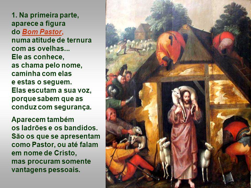 1. Na primeira parte, aparece a figura do Bom Pastor,