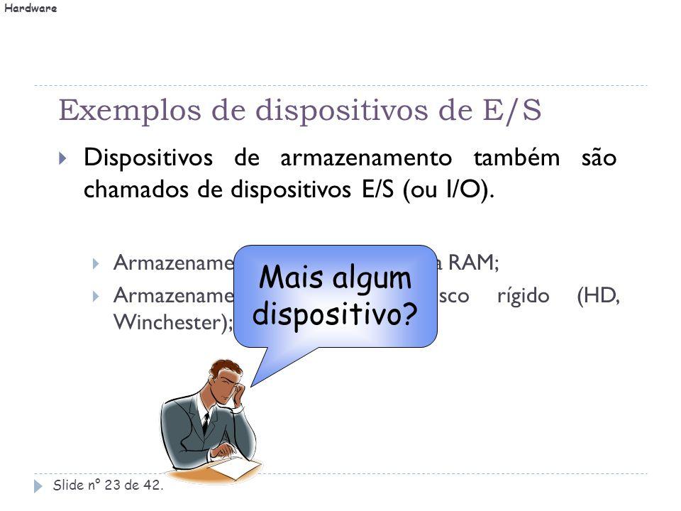 Exemplos de dispositivos de E/S