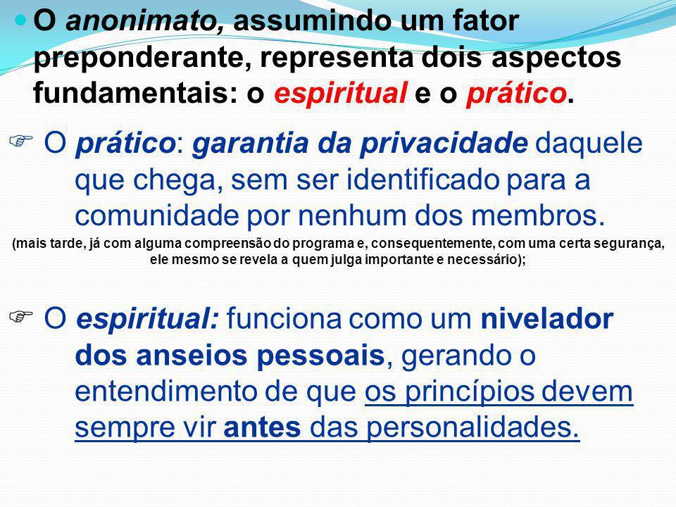 O anonimato, assumindo um fator preponderante, representa dois aspectos fundamentais: o espiritual e o prático.