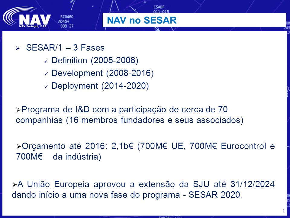 NAV no SESAR SESAR/1 – 3 Fases Definition (2005-2008)