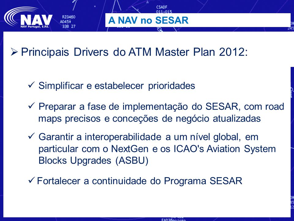 Principais Drivers do ATM Master Plan 2012: