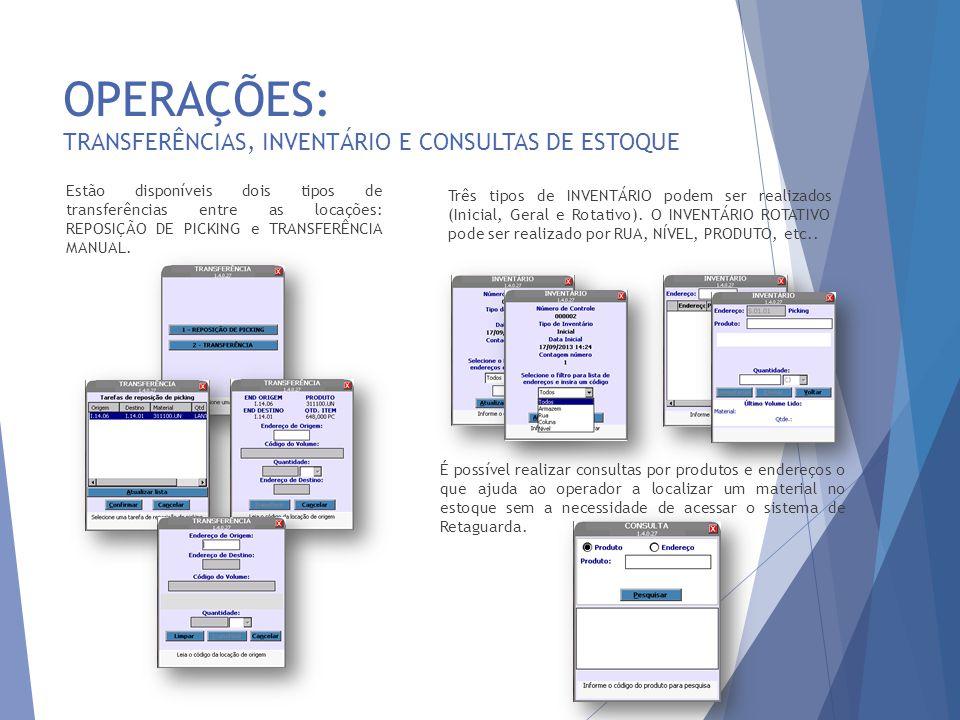 OPERAÇÕES: TRANSFERÊNCIAS, INVENTÁRIO E CONSULTAS DE ESTOQUE
