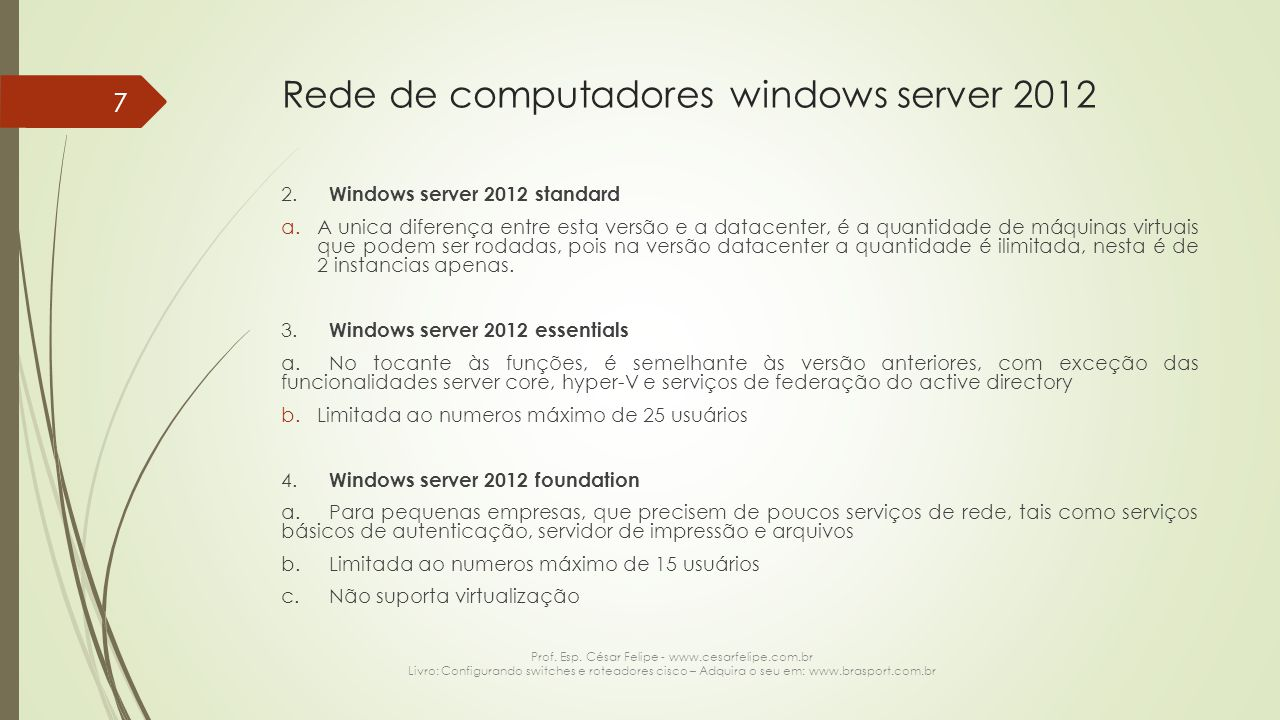 Rede de computadores windows server 2012