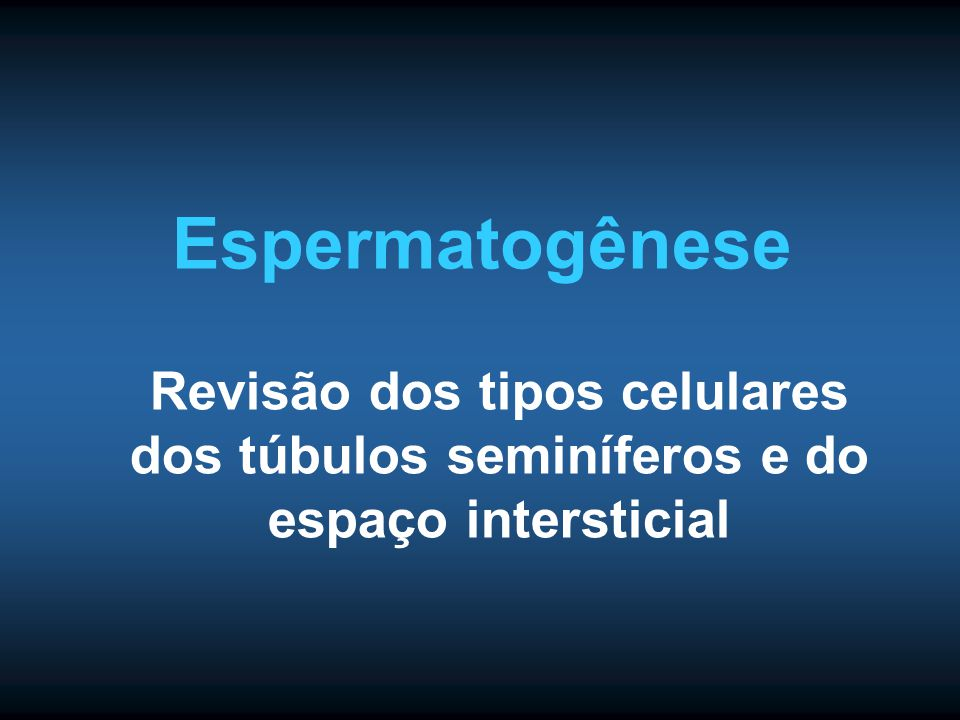 Espermatogênese Revisão dos tipos celulares dos túbulos seminíferos e do espaço intersticial