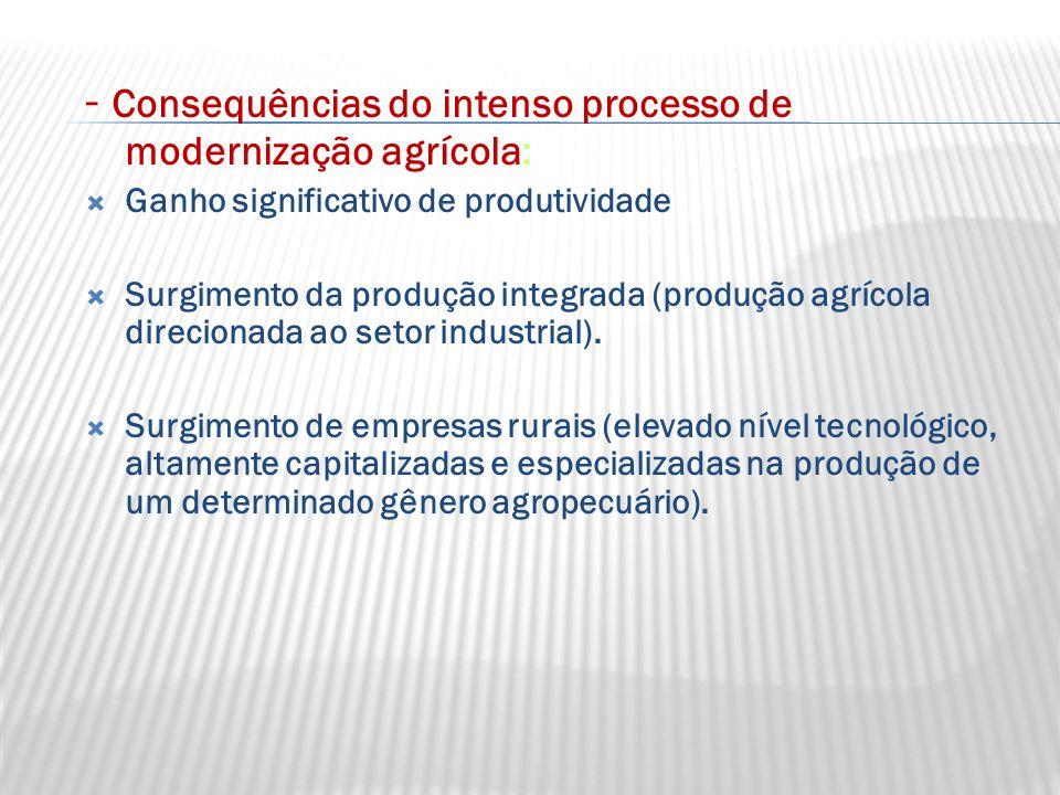 - Consequências do intenso processo de modernização agrícola: