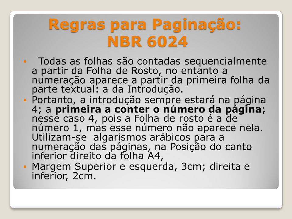 Regras para Paginação: NBR 6024