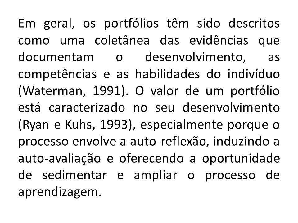 Em geral, os portfólios têm sido descritos como uma coletânea das evidências que documentam o desenvolvimento, as competências e as habilidades do indivíduo (Waterman, 1991).