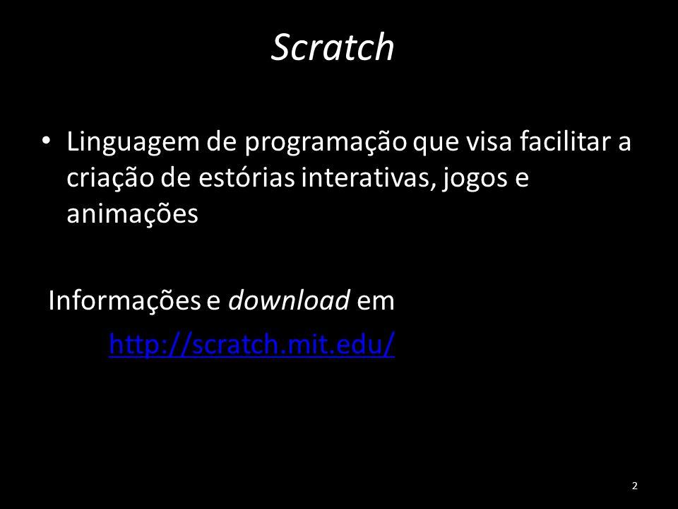 Scratch Linguagem de programação que visa facilitar a criação de estórias interativas, jogos e animações.