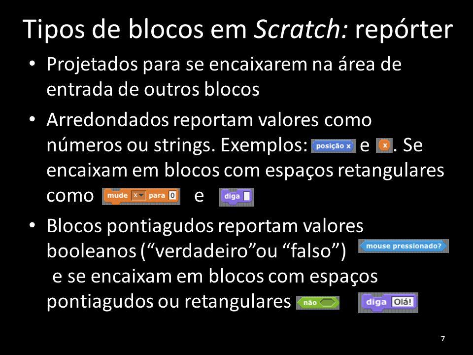 Tipos de blocos em Scratch: repórter