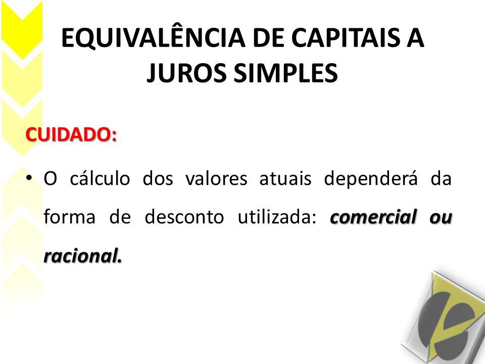 EQUIVALÊNCIA DE CAPITAIS A JUROS SIMPLES