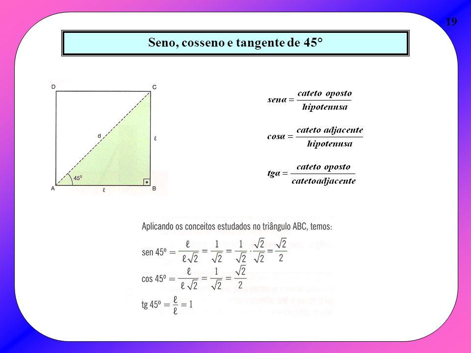 Seno, cosseno e tangente de 45°