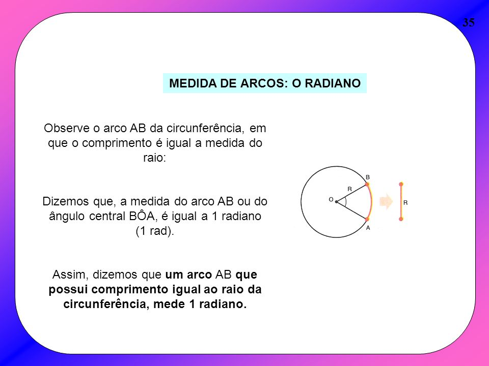 MEDIDA DE ARCOS: O RADIANO