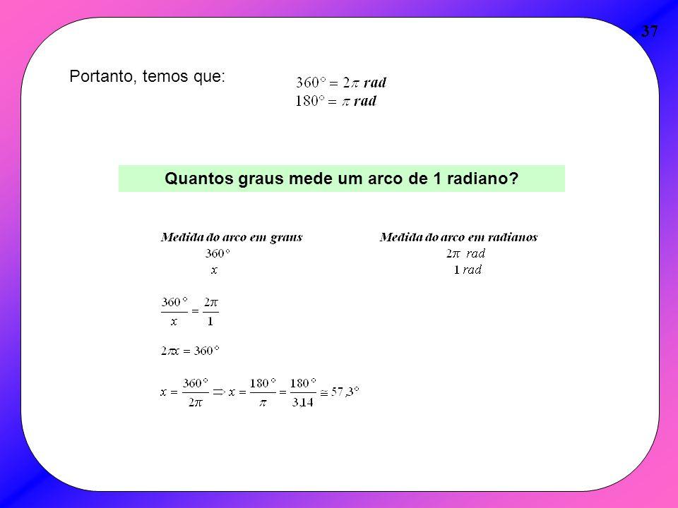 Quantos graus mede um arco de 1 radiano