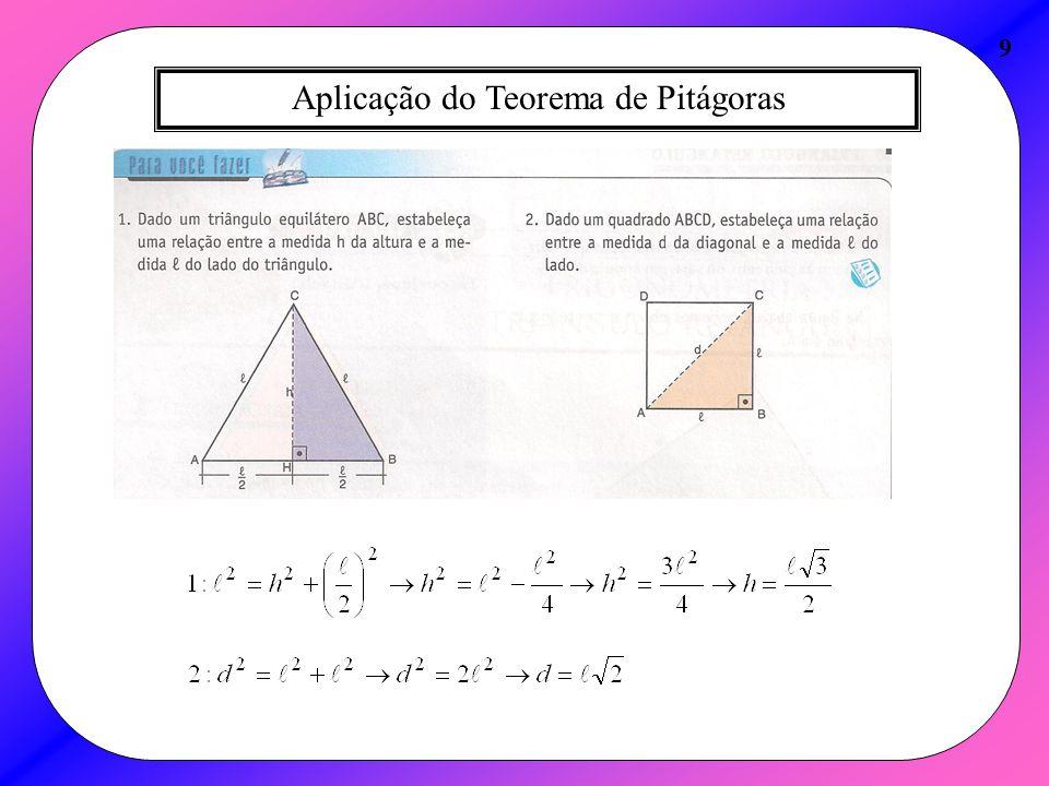 Aplicação do Teorema de Pitágoras