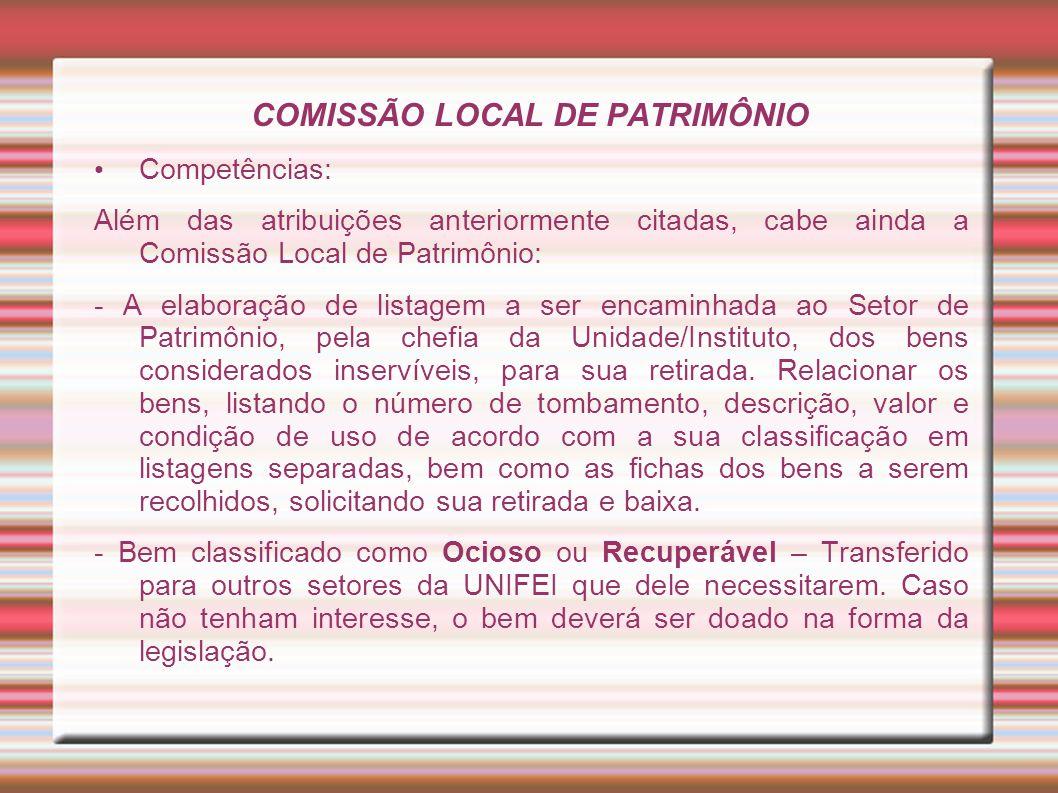 COMISSÃO LOCAL DE PATRIMÔNIO