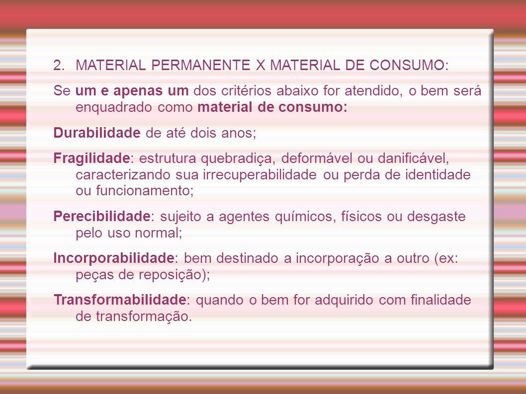 MATERIAL PERMANENTE X MATERIAL DE CONSUMO: