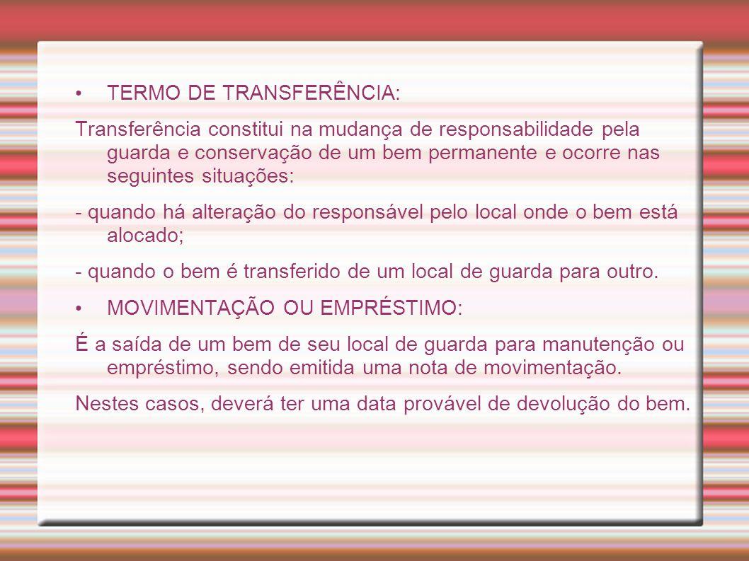 TERMO DE TRANSFERÊNCIA: