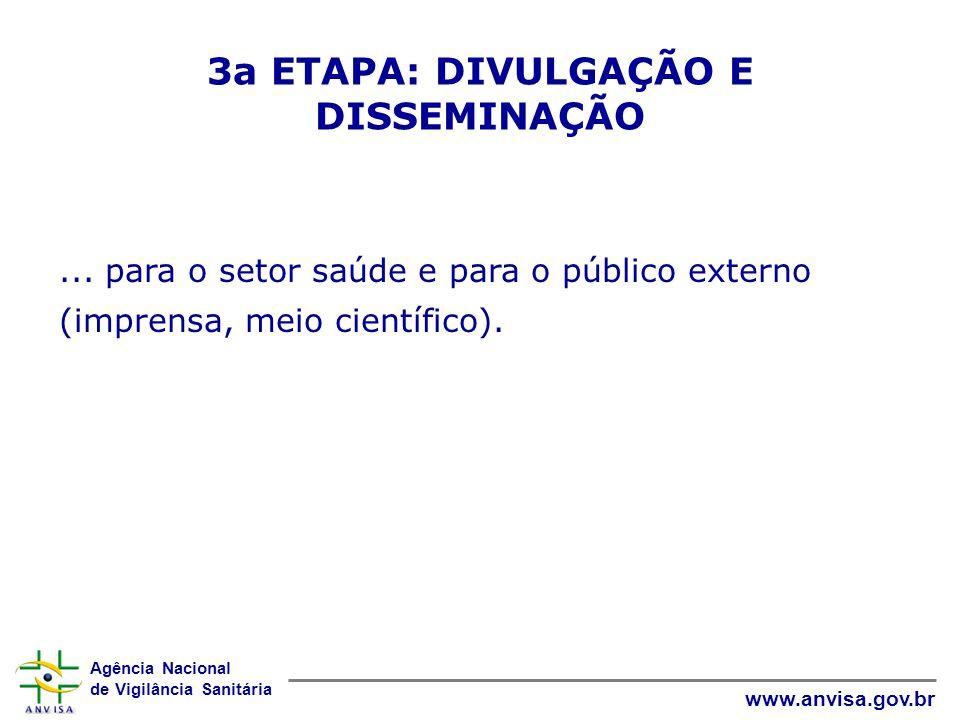 3a ETAPA: DIVULGAÇÃO E DISSEMINAÇÃO