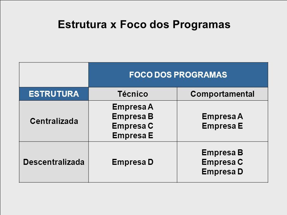 Estrutura x Foco dos Programas