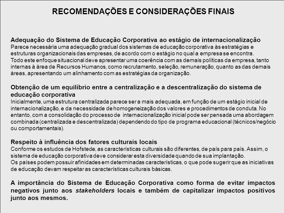 RECOMENDAÇÕES E CONSIDERAÇÕES FINAIS