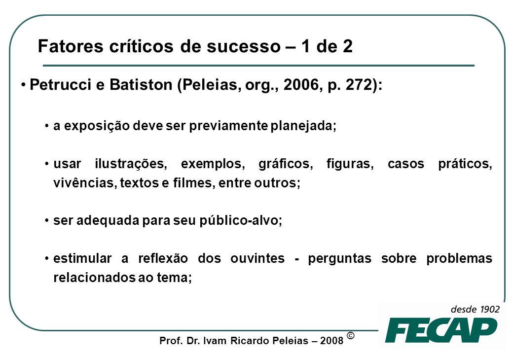 Fatores críticos de sucesso – 1 de 2