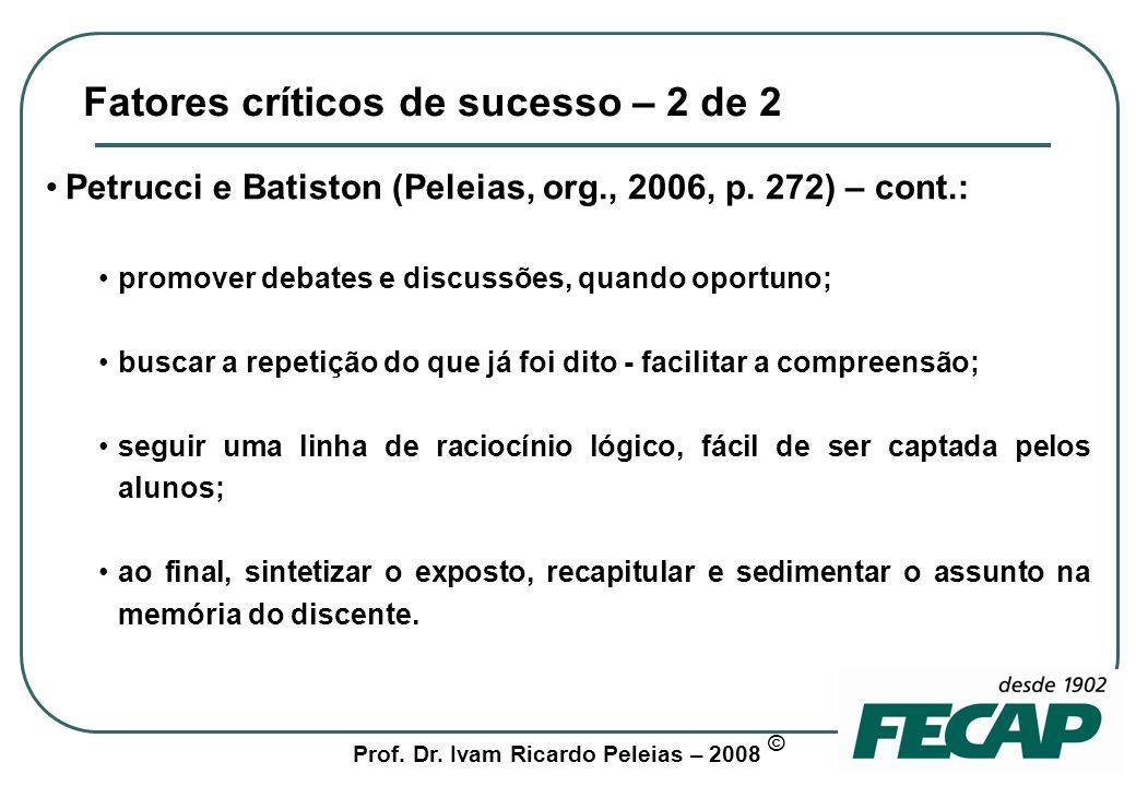 Fatores críticos de sucesso – 2 de 2
