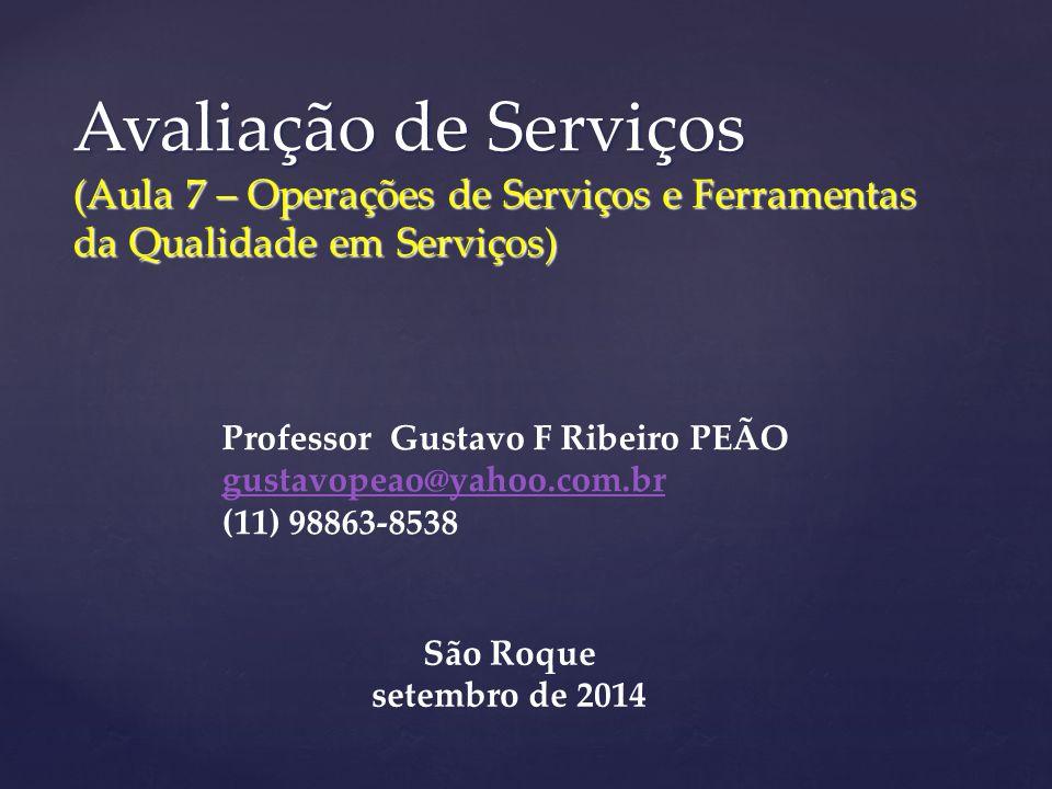 Avaliação de Serviços (Aula 7 – Operações de Serviços e Ferramentas da Qualidade em Serviços)