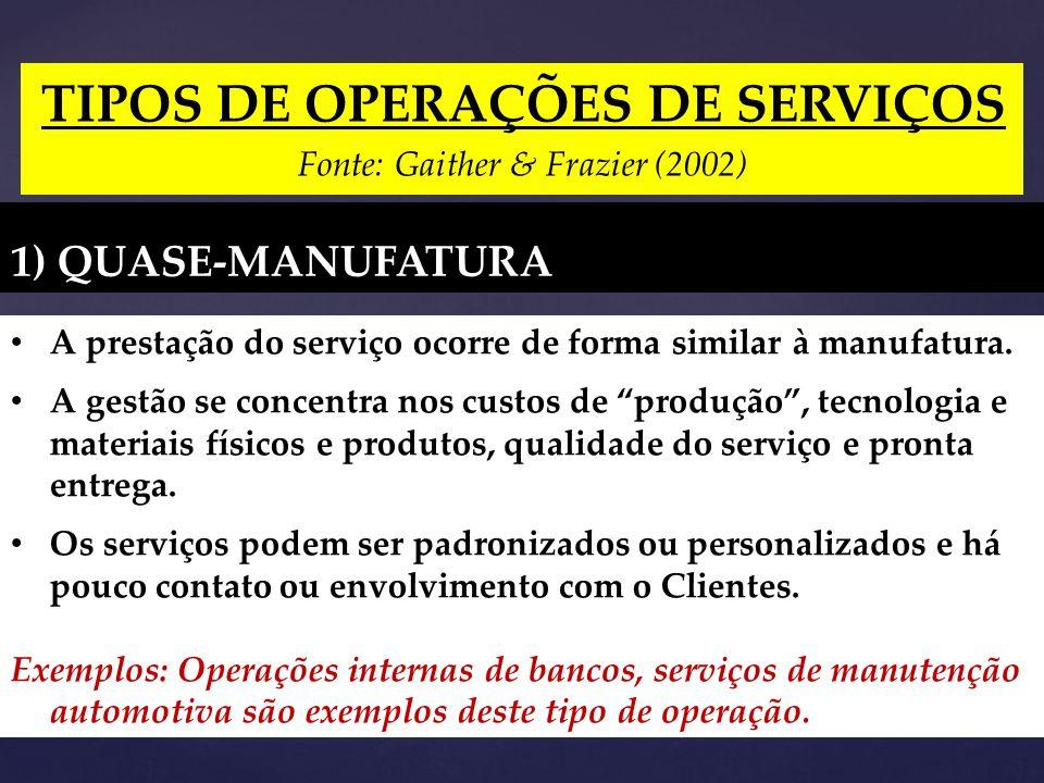 TIPOS DE OPERAÇÕES DE SERVIÇOS