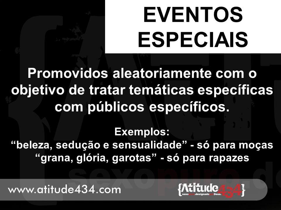 EVENTOS ESPECIAIS Promovidos aleatoriamente com o objetivo de tratar temáticas específicas com públicos específicos.