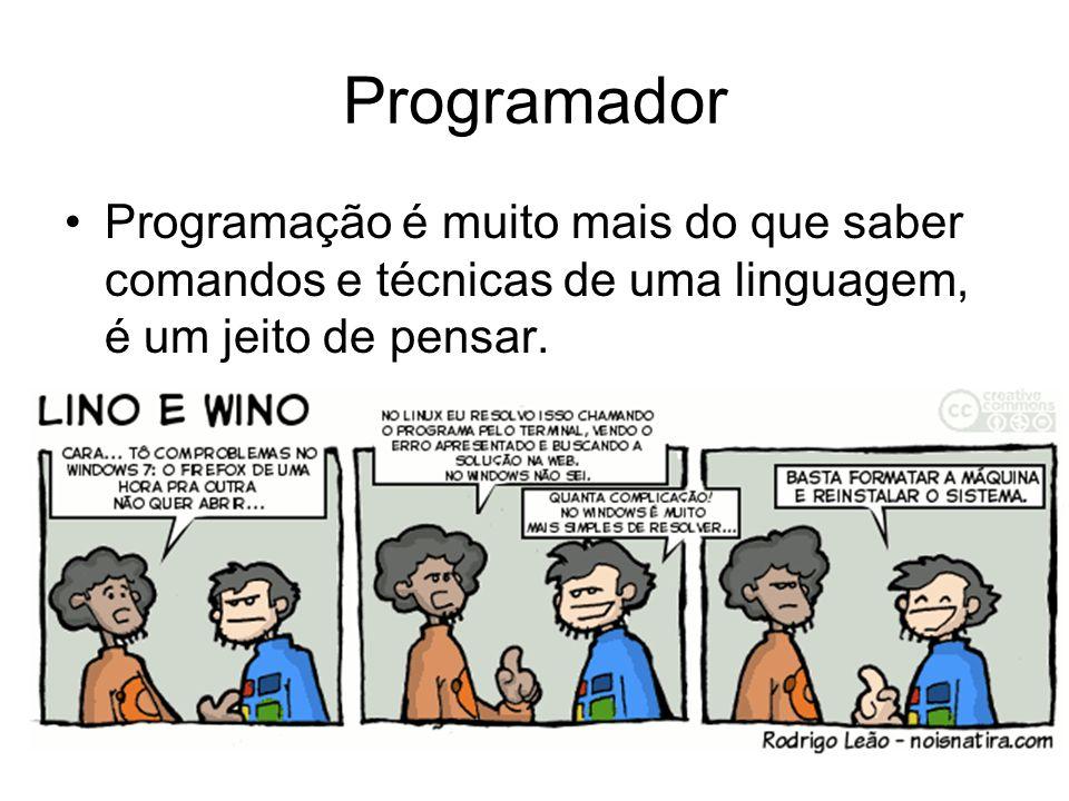 Programador Programação é muito mais do que saber comandos e técnicas de uma linguagem, é um jeito de pensar.
