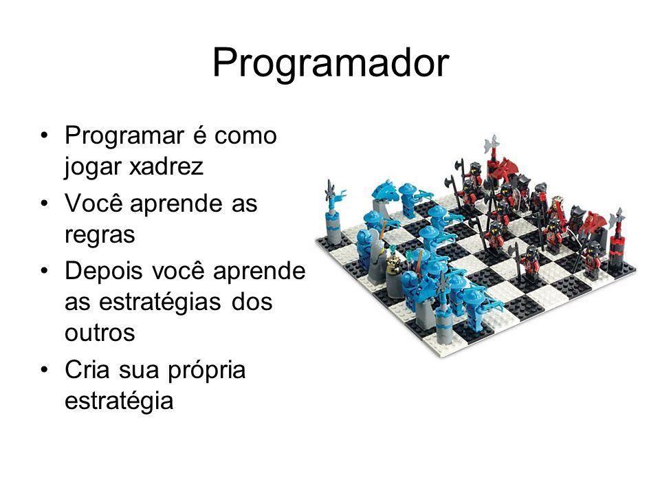 Programador Programar é como jogar xadrez Você aprende as regras