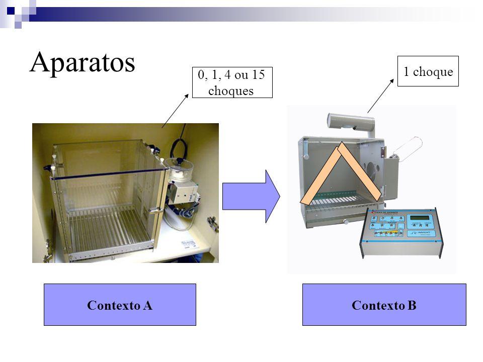 Aparatos 1 choque 0, 1, 4 ou 15 choques Contexto A Contexto B