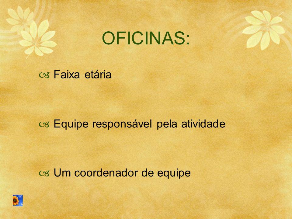 OFICINAS: Faixa etária Equipe responsável pela atividade