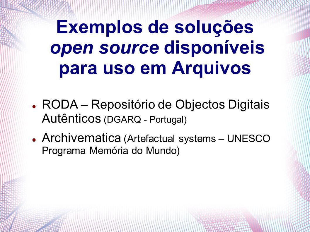 Exemplos de soluções open source disponíveis para uso em Arquivos