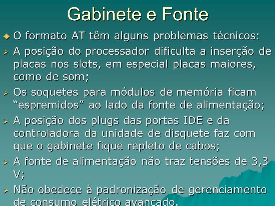 Gabinete e Fonte O formato AT têm alguns problemas técnicos: