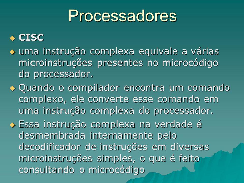 Processadores CISC. uma instrução complexa equivale a várias microinstruções presentes no microcódigo do processador.