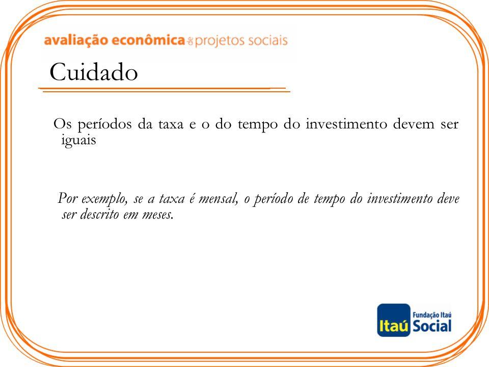 Cuidado Os períodos da taxa e o do tempo do investimento devem ser iguais.
