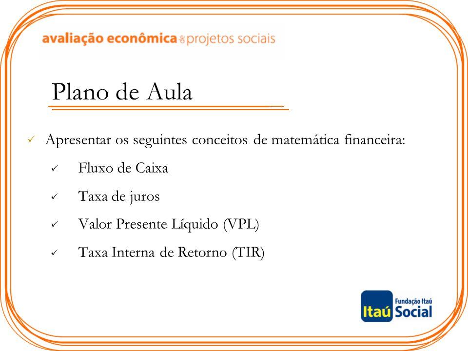 Plano de Aula Apresentar os seguintes conceitos de matemática financeira: Fluxo de Caixa. Taxa de juros.