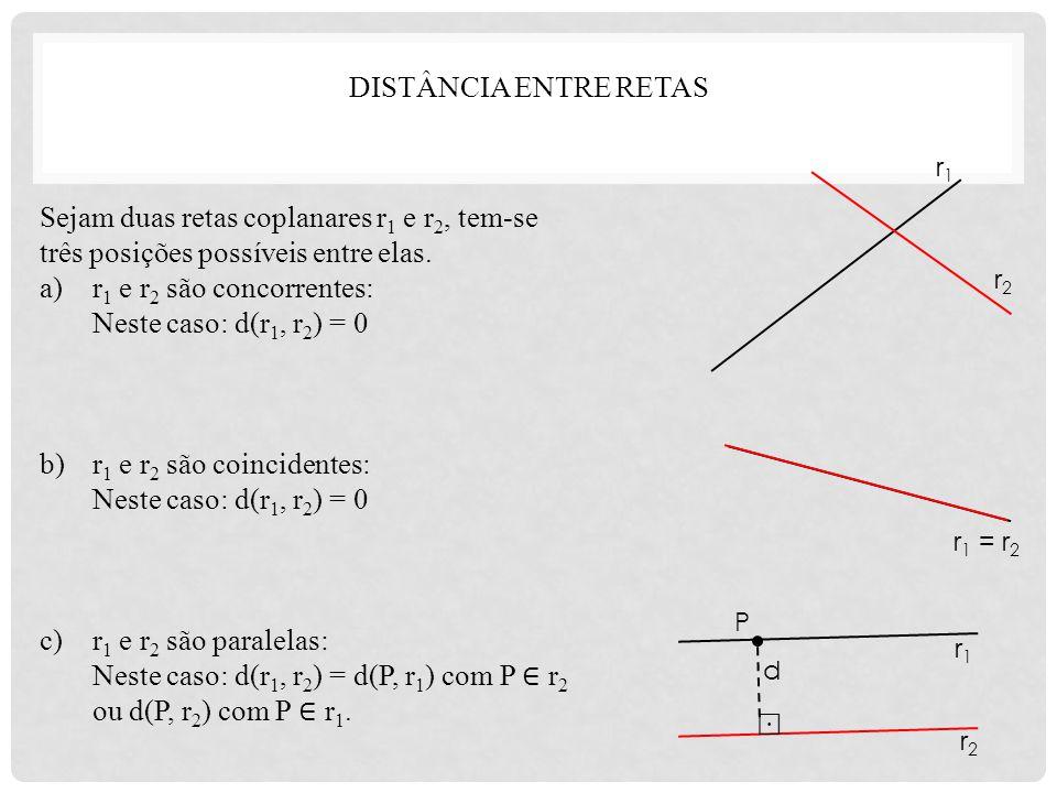 Neste caso: d(r1, r2) = d(P, r1) com P ∈ r2 ou d(P, r2) com P ∈ r1.