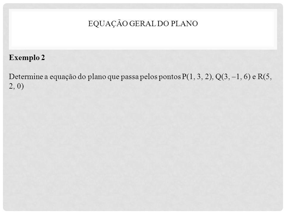 EQUAÇÃO GERAL DO PLANO Exemplo 2.