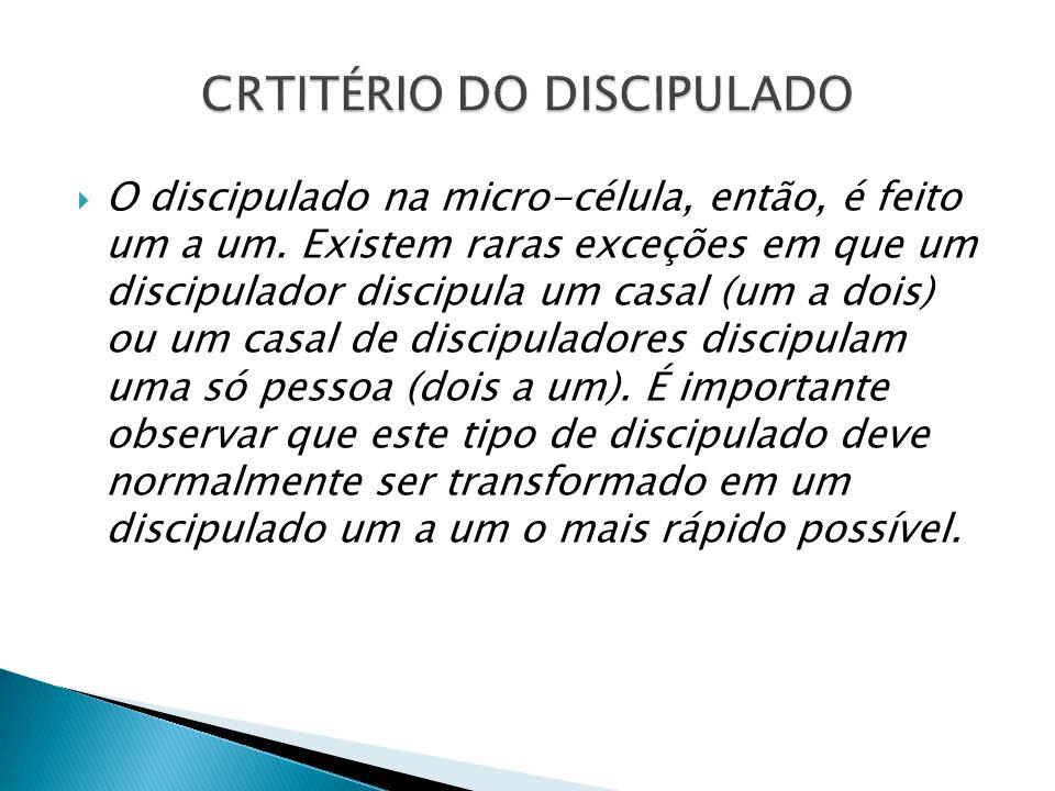 CRTITÉRIO DO DISCIPULADO