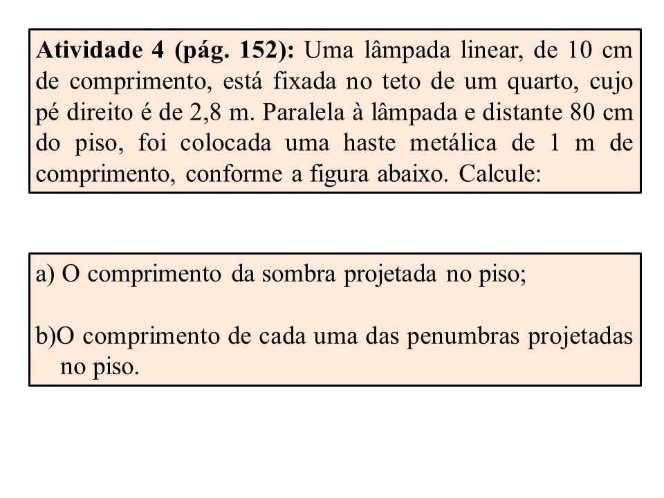 Atividade 4 (pág. 152): Uma lâmpada linear, de 10 cm de comprimento, está fixada no teto de um quarto, cujo pé direito é de 2,8 m. Paralela à lâmpada e distante 80 cm do piso, foi colocada uma haste metálica de 1 m de comprimento, conforme a figura abaixo. Calcule: